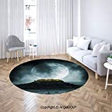 AngelDOU Round Area Rug Stain Fade Resistant Floor Mat Big Full Moon Over a Fantasy Castle on Hill Clouds Rocks Valley View Non-Slip Absorbent Round Floor Mat
