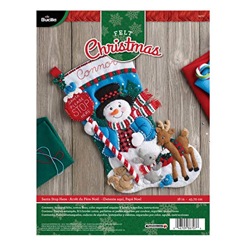 Bucilla Felt Applique Stocking Kit (18-Inch), Santa Stop Here