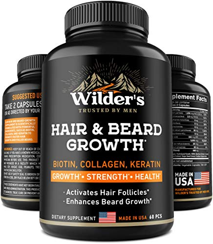 Beard Growth Pills - Hair Grow Vitamins for Men - Made in USA - Biotin, Collagen, Keratin, MSM Supplement - Facial Thick Mustache Grower - 60 Capsules