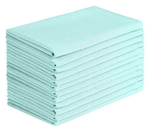Cloth Napkin in Solid Cotton Fabric- Aqua Blue Color, Oversized 20x20, Wedding Napkins,Cocktails Napkins,Tailored with Mitered Corners & Generous Hem, Machine Washable Dinner Napkins Set of 12