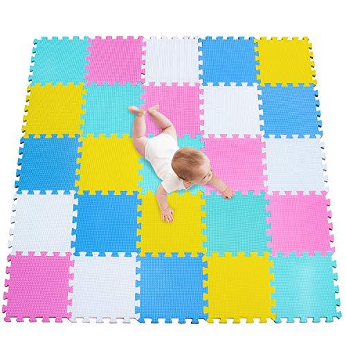 meiqicool Puzzlematte | Sanfte Baby-Bodenmatte | Kinderspielteppich Spielmatte Spielteppich Schaumstoffmatte Kinderteppich 142 x 142 cm Schutzmatte 25 Stück ACEGH