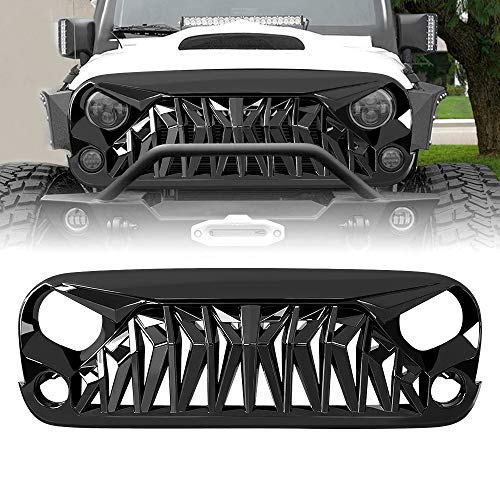 American Modified Front Shark Grille for 2007-2018 Jeep Wrangler JK/JKU Rubicon Sahara Sport, ABS (Golss Black)