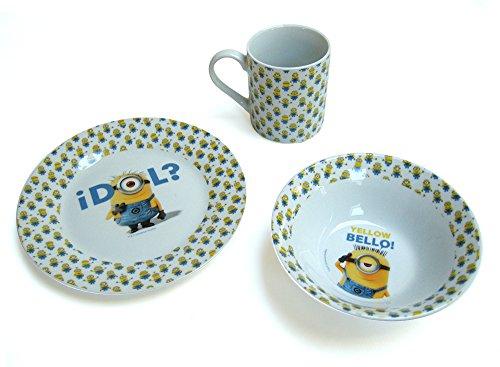 MINIONS Inspired Tableware Geschirr-Set mit Teller, Schüssel, Tasse