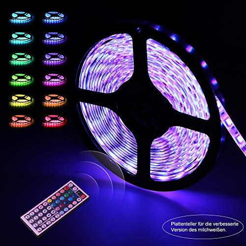 Preisvergleich Produktbild LED Strip,  LED Streifen,  infinitoo led band 5M 5050 RGB 300er LEDs mit Fernbedienung 44 Tasten,  Mehrfarbige Bänder für beleuchtung,  unter Schrank,  Terrasse,  Balkon,  Party und Haus Deko