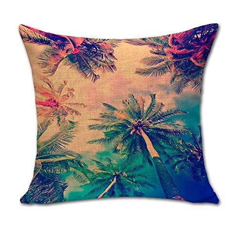 Hengjiang WEIANG Hawaii Küste Kokosbaum Kunst Baumwolle Leinen Kissenbezug Dekorative Wurfkissen Fall Sofa Dekor Tropische Kokosnussbaum 18x18 (04)