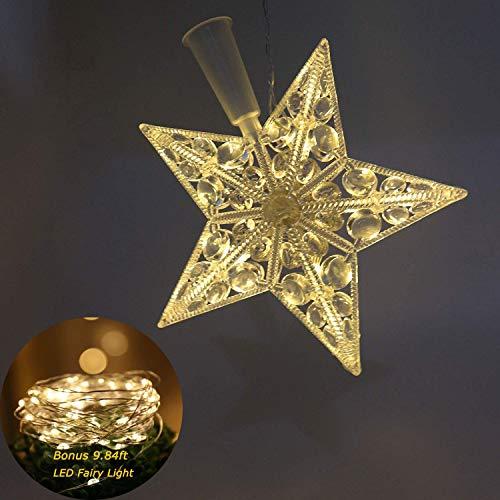 Happylohas strella de Navidad, Estrella de Navidad, Tree Top Estrellas, Estrella de Navidad con luz led, con filamento, para Adornos de árbol de Navidad (6.7 Pulgadas-luz cálida)