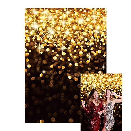 6x8ft Gold Glitter Bokeh Spots Backdrop for Photography Black and Gold Birthday Party Wedding New Year Selfie Newborn Baby Shower Background Shining Portrait Banner Photo Studio Props,Size:6'x8'