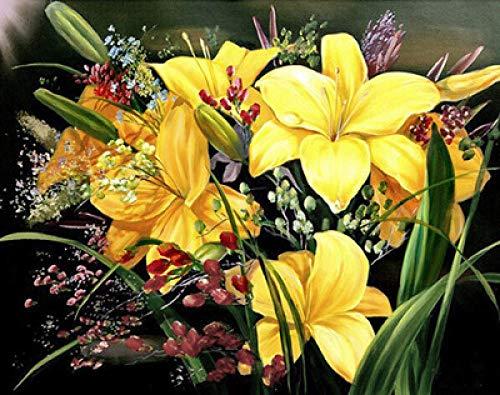 MOL DIY handgemaakte 5D diamant schilderij woonkamer slaapkamer decoratieve schilderijen hangend schilderij kunstwerk geschenken gele lelie planten bloemen 45x60cm/18x24in