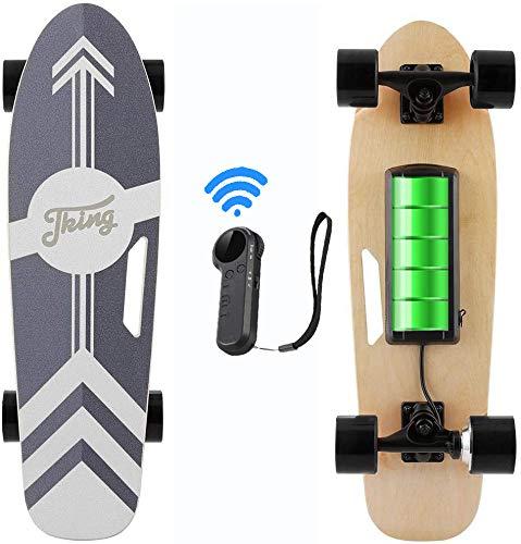 Caroma 70 cm Elektro Skateboard mit Drahtloser Bluetooth Fernbedienung für Erwachsene und Jugendliche, 20 km/h Höchstgeschwindigkeit, 350 W Motor (Schwarz)
