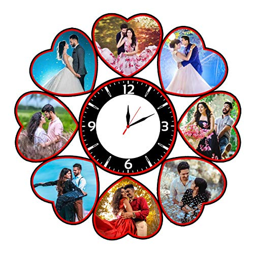 Shri Kanth Art® Customized Couple Photo Wooden Wall Clock Photo Frame for Home and Gift Purpose (12 x 12 inch)