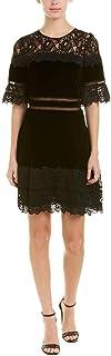 فستان نسائي من Rebecca Taylor بأكمام قصيرة من الدانتيل والقطيفة
