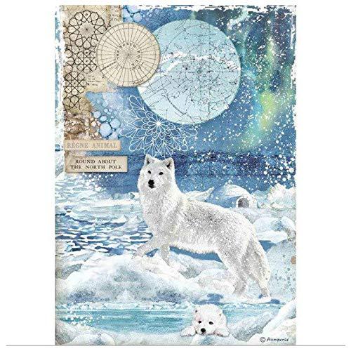 Stamperia Reispapier Wolf, A4, Reispapier für Decoupage, Hobbyfarben