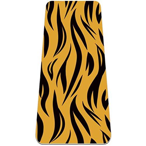 AIBILI Esterilla de yoga de 6 mm de grosor para hombres y mujeres – Esterilla antideslizante para yoga, pilates, estiramiento, suelo y ejercicios de fitness (72 x 24 x 6 mm) patrón de rayas de tigre