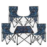 BAOFI Sillas Plegables para Exterior Taburetes de Acampada Silla Plegable Camping Portátil Fácil de Llevar Ideal para Pesca Playa Barbacoa Picnic y Actividades al Aire Libre,BlueLarge4Chairs1Table