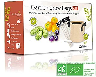 Cultivea - Growing Bags Kit - Ready to grow - 100% Ecological and Organic Seeds - Vegetable Garden (Cucumber, Tomato, Bell Pepper) - Gift Idea