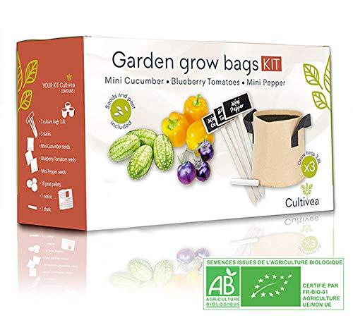 Cultivea Kit completo de hierbas - Cultive propias hierbas aromáticas - 100% ecológicas: semillas orgánicas, bio seeds - Decora tu hogar con un huerto urbano. (Tomate, Mini Pepino, Mini Pimiento)