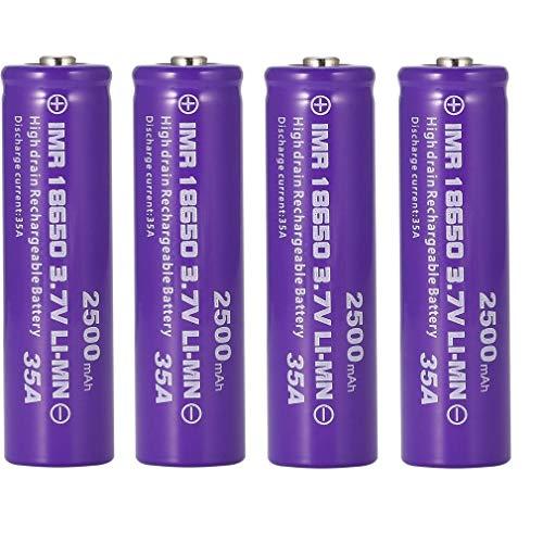18650 Batería Recargable de Iones de Litio 3,7 V 2500 mAh Baterías de Litio de Gran Capacidad Accesorios Seguros Linterna LED, Dispositivos electrónicos, etc. 2/4 Piezas (Púrpura) (2 pcs)