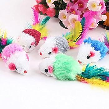 Jiacheng29 Lot de 10 fausses souris en polaire douce pour chat avec plumes colorées