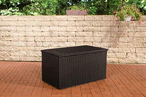 CLP Polyrattan-Aufbewahrungsbox | Gartentruhe für Kissen und Auflagen | In verschiedenen Größen und Farben erhältlich, Farbe:schwarz, Größe:XL