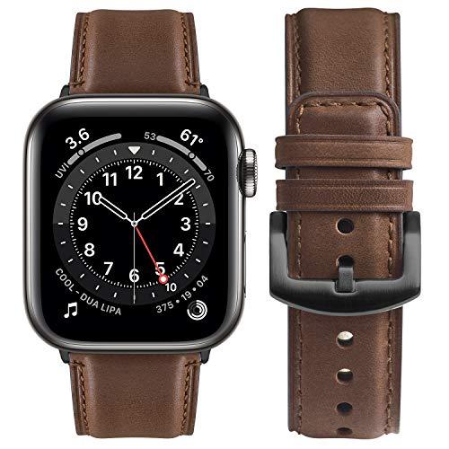 Correa Compatible con Apple Watch 38 mm 40 mm 42 mm 44 mm, Fullmosa Yola Serie Pulsera de Piel Bruñida para iWatch SE Series 6/5/4/3/2/1, Marrón Oscuro + Hebilla Gris 38mm