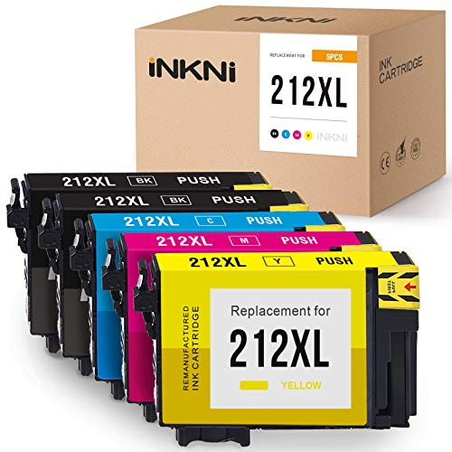 Price comparison product image INKNI Remanufactured Ink Cartridge Replacement for Epson 212XL T212XL T212XL120 for Expression Home XP-4100 XP-4105 Workforce WF-2850 WF-2830 212 XL (Black Cyan Magenta Yellow,  5-Pack)