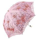 Honeystore Vintage Lace UV Sun Parasol Folding 3D Flower Embroidery Umbrella BM1618 Pink