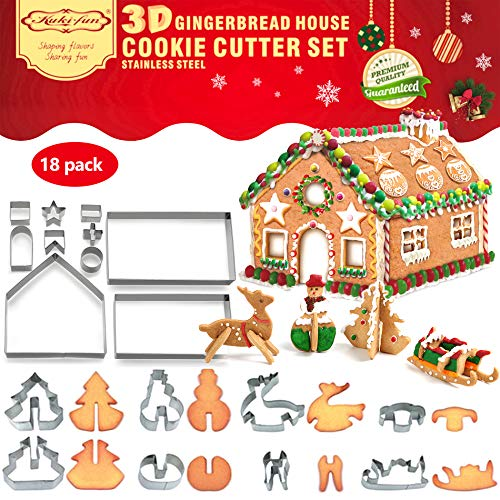 18 PCS 3D Christmas House Cookie Cutter Set, Gingerbread House Cutters Kit, Festive Xmas Stainless Steel Biscuit Cutter Set, Including Christmas Tree, Snowman, Reindeer, Sled Shapes, Gift Box Package