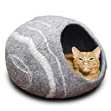 MEOWFIA Premium Cat Bed Cave (Large) - Eco Friendly 100% Merino Wool Bed for Cats and Kittens (Large, Grey Stone)