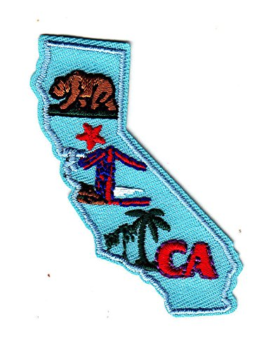 'CA' - CALIFORNIA STATE SHAPE - Iron On Embroidered Patch/Southwest, Palms, Bear
