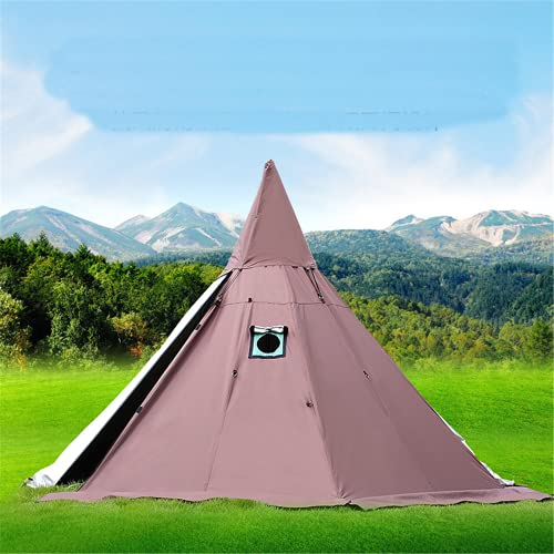 Tienda de campaña piramidal con una chimenea/una torre de humo, ventana, parque, supervivencia, capa individual india, tienda impermeable para exteriores para camping