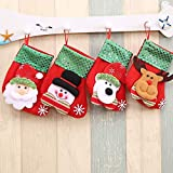 The New Spangly Christmas Stockings Christmas Stockings Bags Candy Bags Adorned Christmas Tree Ornaments Embroidered Christmas Stockings (Color : Four-piece set, Size : 9 * 16cm)