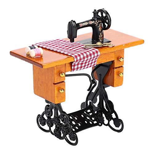 Máquina de Coser de casa de muñecas, 1:12 Muebles de casa de muñecas en Miniatura máquina de Coser de Madera Accesorios de casa de muñecas Juguetes Decorativos, Interior de casa de muñecas