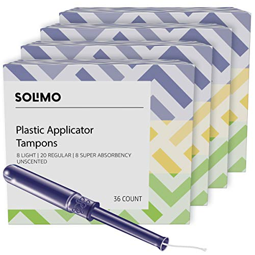 Amazon Brand - Solimo Plastic Applicator Tampons, Light Absorbency Multipack, Light/Regular/Super Absorbency, Unscented, 36 Count (Pack of 4)