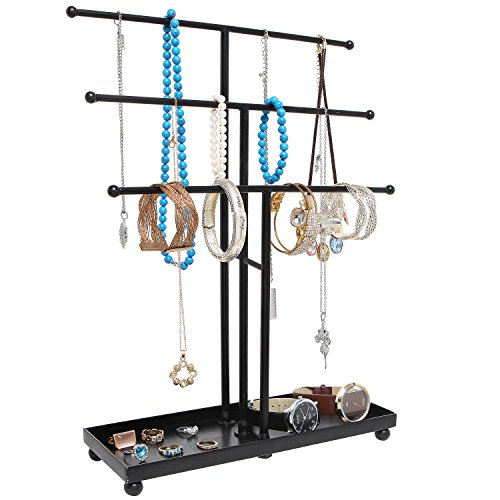 Modern Black Metal 3 Tier Tabletop Bracelet amp Necklace Jewelry Organizer Display Tree Rack w/Ring Tray