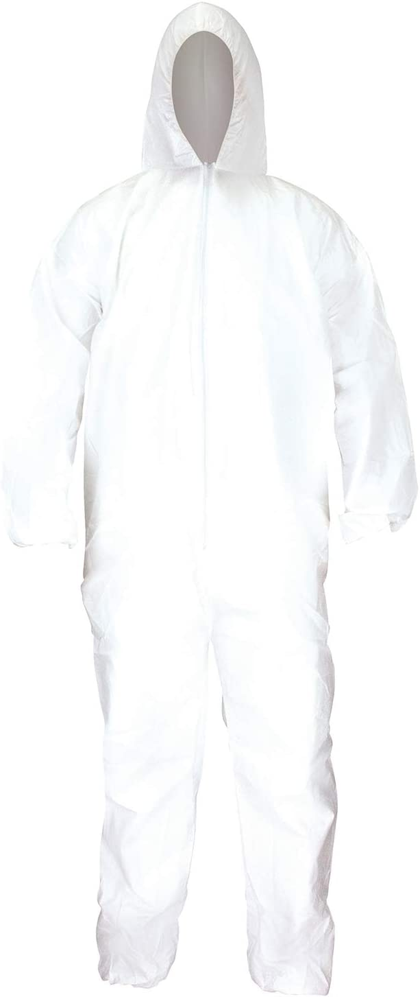 PPE Kit Sterilized Coveralls Front Zipper w Hood Shoes Cover Goggle White//Blue L