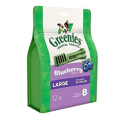 GREENIES Large Natural Dog Dental Care Chews Oral Health Dog Treats Blueberry Flavor, 12 oz. Pack (8 Treats)