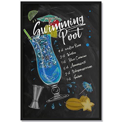 JUNIWORDS Poster mit/ohne Holzrahmen - Wähle ein Motiv - Cocktail Swimming Pool - Wähle eine Größe - 21 x 30 cm (S) mit Rahmen in Schwarz