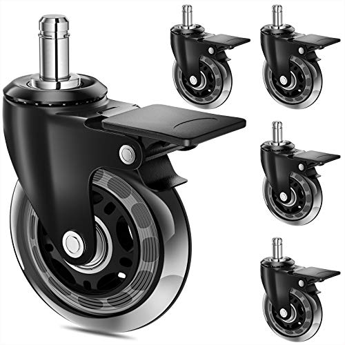 """MSOBAIW Office Chair Caster Wheel with Lock, Replacement for Hardwood Carpeted Floors, 2.5"""" Heavy Duty Rubber Caster Wheel with Brakes Inserts for Desk Gaming Chair, Universal Grip Ring Stem (2.5"""")"""