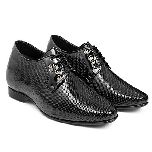 BXXY 9 cm (3.5 Inch) Height Increasing Dress Shoe Derby Lace-Up Formal Patent Faux Leather Shoes Black