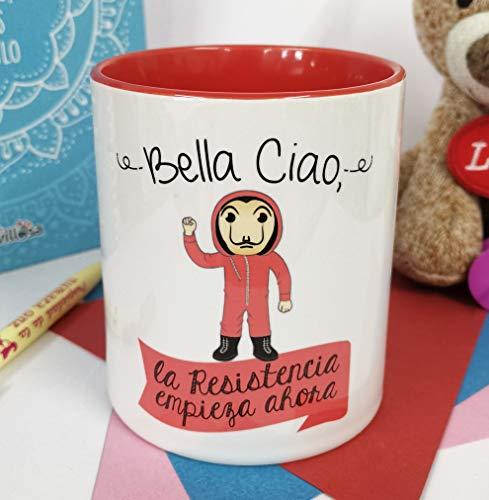 LA MENTE ES MARAVILLOSA - Taza con Frase y dibujo. Regalo Original y gracioso (Bella Ciao, la resistencia empieza ahora) Taza Serie Casa de pape