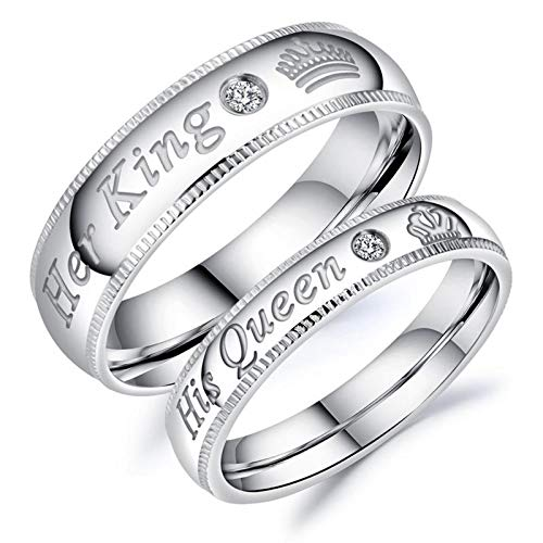 Anyeda Anillos Pareja Acero Inoxidable Anillo King Queen Plata Tallado Circonitas Incrustadas Her King His Queen Corona