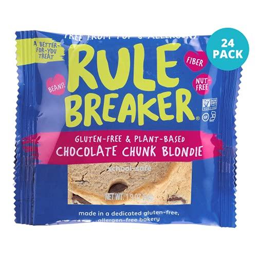 Rule Breaker Snacks, Chocolate Chunk Blondie, Vegan, Gluten Free, Nut Free, Allergy Friendly, Kosher, Individually Wrapped 1.9oz Cookies (24 Blondies)