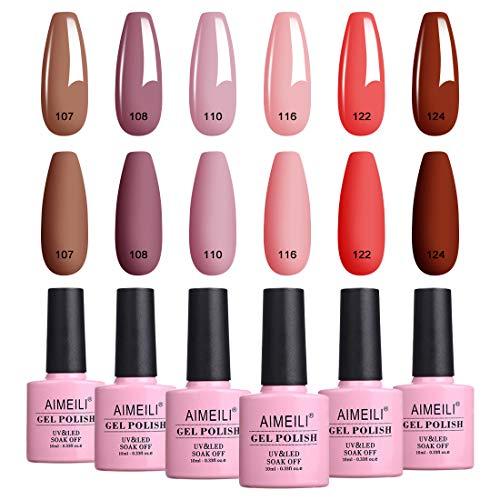 AIMEILI Valentine's Day Gel Nail Polish Set, Natural Skin Tone Nude Pink Color Gel Polish Soak Off UV LED Nail Gel Kit Gifts for Mother's Day Set Of 6pcs X 10ml - Kit Set 30