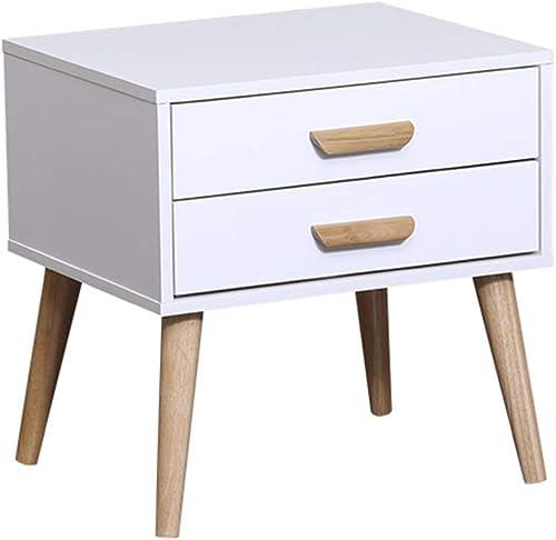 NAN Table de Chevet sur Pied rétro 2 tiroirs Armoire Rangement Organisateur unité Chambre à Coucher Meubles en Bois Jambe