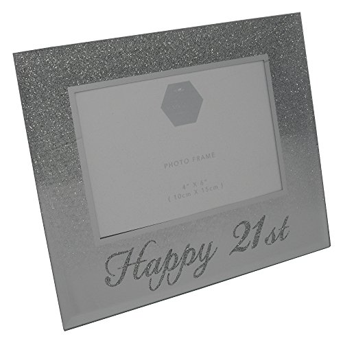 Happy 21st Silver Glitter Birthday Photo Frame Gift