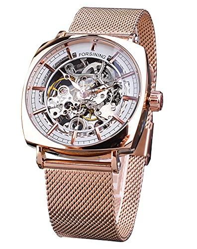 Forsining Reloj casual cuadrado impermeable mecánico automático unisex reloj elegante de malla de oro rosa para hombres