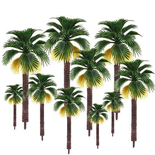 16 Piezas Árboles en Miniatura, Artificial Plastic Layout Diorama de Selva Tropical, Árbol de Paisaje de Ferrocarril Árboles de Arquitectura Árboles Pagoda Artificiales Modelo para DIY Paisaje