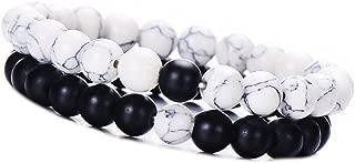 Distance Friendship Bracelet Couple Jewelry for Men - Howlite Bead Stretch Bracelet 2pcs/Set