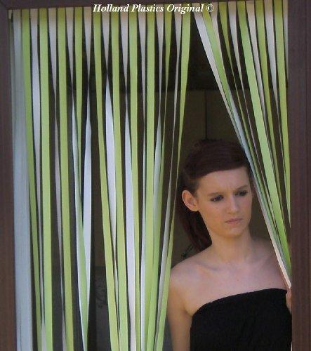Holland Plastics Original Brand Wohnwagen-Türvorhang, Fliegengitter, Insektenschutz, Streifenvorhang -Limette & Weiss- 62cm breit