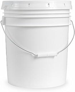 5 gallon Food Grade White Plastic Bucket with Handle & Lid - Set of 6